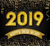 2019 Felices Año Nuevo con las letras de la bombilla del oro del vintage, brillo, ilustración del vector