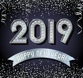 2019 Felices Año Nuevo con las letras de la bombilla de la plata del vintage, brillo, libre illustration
