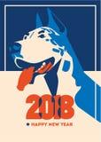 2018 Felices Año Nuevo de la tarjeta de felicitación del perro ilustración del vector