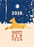 2018 Felices Año Nuevo de la tarjeta de felicitación del perro libre illustration