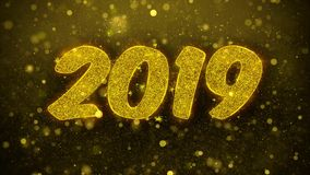 2019 Felices Año Nuevo desean la tarjeta de felicitaciones, invitación, fuego artificial de la celebración colocado