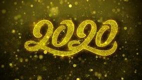 2020 Felices Año Nuevo desean la tarjeta de felicitaciones, invitación, fuego artificial de la celebración colocado