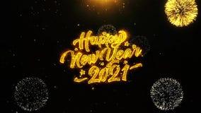 2021 Felices Año Nuevo desean la tarjeta de felicitaciones, invitación, fuego artificial de la celebración colocado libre illustration