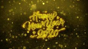 2020 Felices Año Nuevo desean la tarjeta de felicitaciones, invitación, fuego artificial de la celebración stock de ilustración
