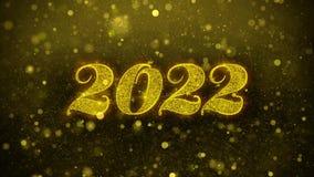 2022 Felices Año Nuevo desean la tarjeta de felicitaciones, invitación, fuego artificial de la celebración ilustración del vector