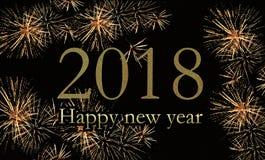 2018 Felices Año Nuevo en fuegos artificiales Imagen de archivo