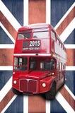 2015 Felices Año Nuevo escritas en un autobús del rojo de Londres Imagen de archivo