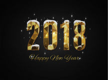 2018 Felices Año Nuevo Feliz Navidad felicite stock de ilustración