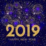 2019 Felices Año Nuevo Fuegos artificiales y estrellas del oro en backg azul marino ilustración del vector
