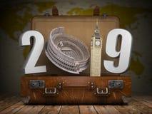 2019 Felices Año Nuevo Maleta del vintage con el número 2019 como Colois ilustración del vector