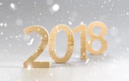 2018 Felices Año Nuevo, números cortaron de la madera ligera en un backg gris Fotografía de archivo