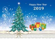 2019 Felices Año Nuevo Postal con el árbol de navidad libre illustration