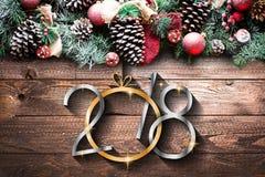 2018 Felices Año Nuevo y capítulo de Feliz Navidad con nieve y rea Fotos de archivo libres de regalías