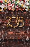 2018 Felices Año Nuevo y capítulo de Feliz Navidad con nieve y rea Foto de archivo libre de regalías