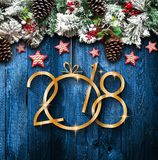 2018 Felices Año Nuevo y capítulo de Feliz Navidad con nieve y rea Imagen de archivo