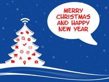 Felices chistmas y Feliz Año Nuevo con símbolos del web Foto de archivo