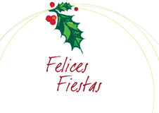 FELICES FIESTAS Blanco. FELICES FIESTAS means HAPPY HOLIDAYS in spanish, this vector illustration represents a mistletoe, that remember our traditions Royalty Free Stock Image