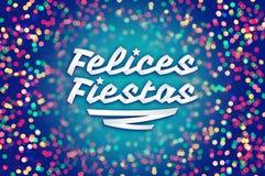 Felices-Fiestas - frohe Feiertage spanischer Text Stockbilder