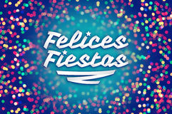 Felices fiestas - happy holidays spanish text Stock Images