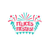 Felices Fiestas - Happy holidays to Spanish language. Happy New Year card with stars and fireworks. Vintage vector badge on the white background Stock Images