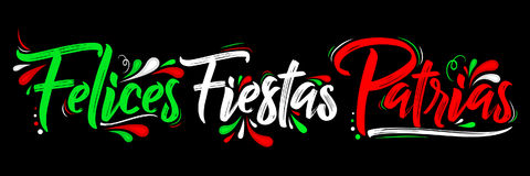 Felices Fiestas Patrias - Happy National Holidays spanish text, mexican theme patriotic celebration. Vector lettering - eps available Royalty Free Stock Image