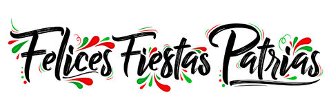 Felices Fiestas Patrias - Happy National Holidays spanish text. Mexican theme patriotic celebration vector lettering - eps available Stock Images