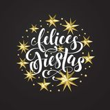 Felices Fiestas Spanish Happy Holidays golden decoration, calligraphy font for greeting card or invitation on white background. Ve. Ctor Christmas or New Year Stock Photo