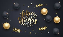 Felices Fiestas Spanish Happy Holidays golden decoration, hand drawn gold calligraphy font for greeting card black background. Vec Royalty Free Stock Photography