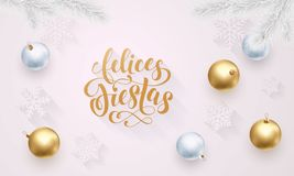 Felices Fiestas Spanish Happy Holidays golden decoration, hand drawn gold calligraphy font for greeting card white background. Vec Stock Image