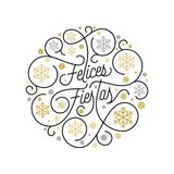 Felices Fiestas Spanish Happy Holidays Navidad calligraphy lettering and golden snowflake pattern on white background for greeting. Card design. Vector golden Stock Photos