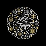 Felices Fiestas Spanish Happy Holidays Navidad calligraphy lettering and golden snowflake pattern on white background for greeting. Card design. Vector golden Stock Image