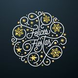 Felices Fiestas Spanish Happy Holidays Navidad calligraphy lettering and golden snowflake star pattern decoration on white backgro. Und for greeting card. Vector Stock Image
