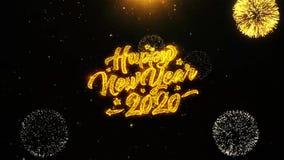 2020 Felices A?o Nuevo desean la tarjeta de felicitaciones, invitaci?n, fuego artificial de la celebraci?n colocado stock de ilustración