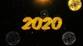 2020 Felices A?o Nuevo desean la tarjeta de felicitaciones, invitaci?n, fuego artificial de la celebraci?n colocado libre illustration