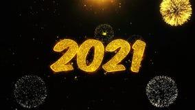 2021 Felices A?o Nuevo desean la tarjeta de felicitaciones, invitaci?n, fuego artificial de la celebraci?n colocado ilustración del vector