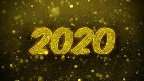 2020 Felices A?o Nuevo desean la tarjeta de felicitaciones, invitaci?n, fuego artificial de la celebraci?n stock de ilustración