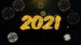 2021 Felices A?o Nuevo escritas las part?culas del oro que estallan la exhibici?n de los fuegos artificiales