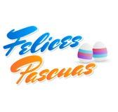 Felices Pascuas, texto feliz del español de Pascua, vector adornó el ejemplo de los huevos libre illustration