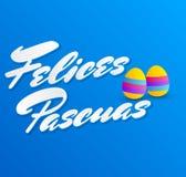 Felices Pascuas, texto feliz del español de Pascua, vector adornó el ejemplo de los huevos ilustración del vector