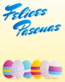 Felices Pascuas, texto feliz del español de Pascua, vector adornó el ejemplo de los huevos stock de ilustración