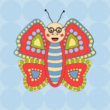 Felices vidrios de la mariposa en fondo inconsútil imagen de archivo libre de regalías