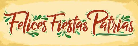 Felicesfiesta's Patrias - Gelukkige Nationale feestdagen Spaanse tekst, Mexicaanse thema patriottische viering stock illustratie