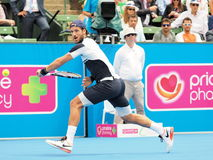 Feliciano Lopez of Spain at an Exhibition and practice match at Kooyong Tennis centre Stock Image