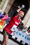 Felicidad de acabar el maratón de Praga Fotografía de archivo libre de regalías