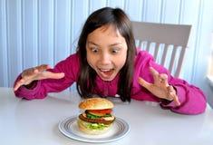 Felicidad de la hamburguesa Imágenes de archivo libres de regalías