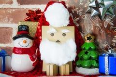 Felicidad del juguete de Santa Claus en día de la Navidad Imagenes de archivo