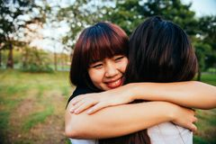 Felicidad lesbiana de los momentos de los pares de las mujeres de LGBT Concepto lesbiano de los pares de las mujeres junto al air fotos de archivo libres de regalías