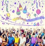 A felicidade aprecia o divertimento Jolly Festive Concept fotos de stock