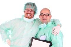 Felicidade de dois cirurgiões Fotos de Stock Royalty Free