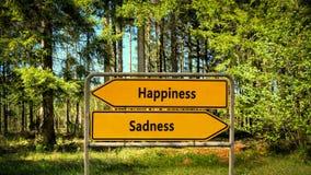 Felicidade do sinal de rua contra a tristeza imagem de stock